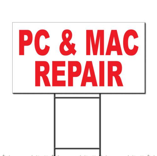 Pc & Mac Repair Red Corrugated Plastic Yard Sign /Free Stakes