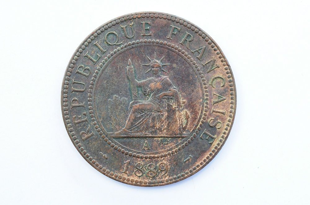mw1583 French Indo China; Cent 1889 A  KM#1