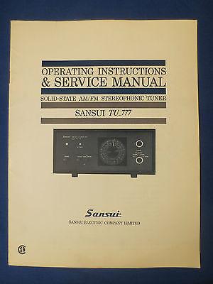SANSUI TU-777 TUNER SERVICE OWNERS MANUAL ORIGINAL FACTORY ISSUE