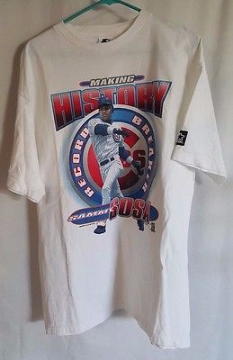 Vintage Sammy Sosa Making History Home Run Race Chicago Cubs T-Shirt  Size Large