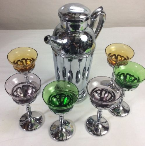 Vintage Chrome Stainless Steel Martini Pitcher w/ 6 Martini Glasses