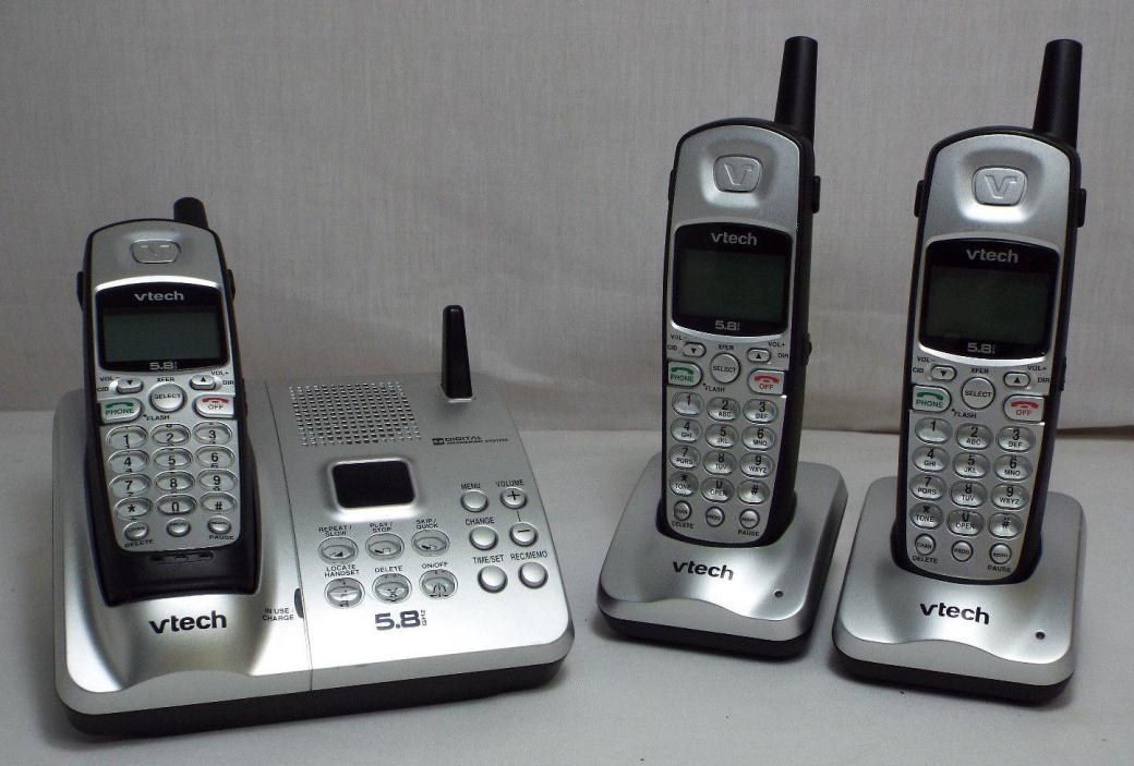 VTech IA5877 5.8 GHz Single Line Cordless Phones - 3 Handsets + Chargers