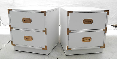 Pair of Lacquered Vintage Bernhardt Campaign Nightstands/Side Tables
