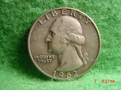 *1962-D WASHINGTON QUARTER,   VERY FINE+