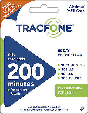 TRACFONE $39.99 Refill 90 Days 200 Minutes. Fast Reload Directly to Phone