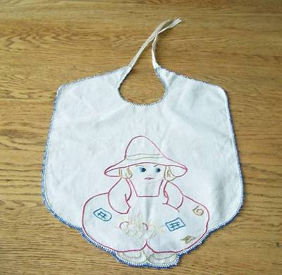 Darling Vtg Hand Embroidered Sunbonnet Sue Baby Bib W Ribbon Ties Red Blue OOAK