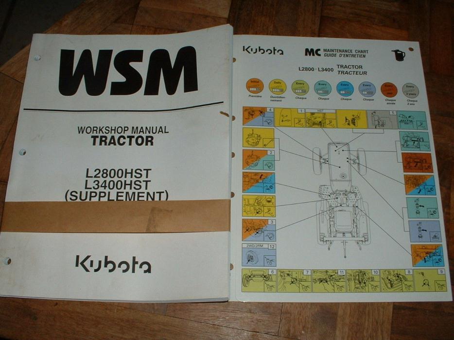 Kubota L2800 L3400 HST Repair Manual Supplment & Maintenance Chart