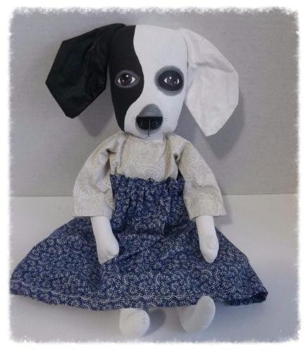 Primitive Folk Art Doll, Black and White Whimsical Dog, Dog Art, Artful Zeal