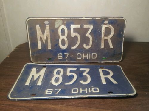Pair 1967 Ohio License Plates Tag # M 853 R ~ M853R ~ Set of 67 Ohio Plates