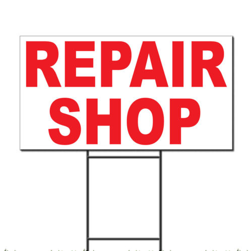 Repair Shop Red Corrugated Plastic Yard Sign /Free Stakes