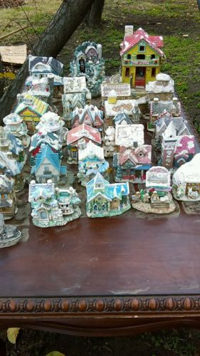 HUGE 29 Ceramic Houses Lot  Christmas and Misc. See Description...