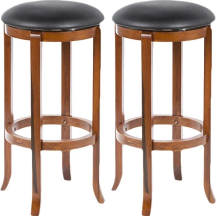 Swivel Bar Stool Set Kitchen Counter Height Leather Wood Backless Furniture 30""