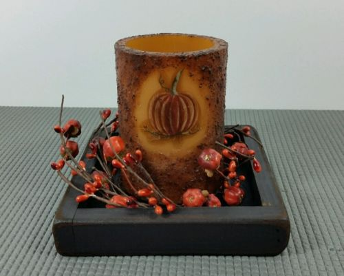 NEW!! Primitive Country Fall Pumpkin Timer Pillar w/ Wood Candle Box & Fall Ring