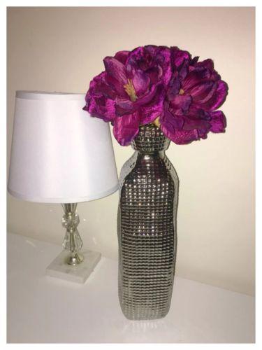 Tall Modern Contemporary Silver Ceramic Vase Faux Flower Arrangement Home Decor