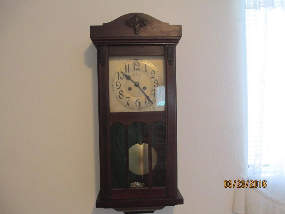 ANTIQUE GERMAN WOODEN WALL CLOCK