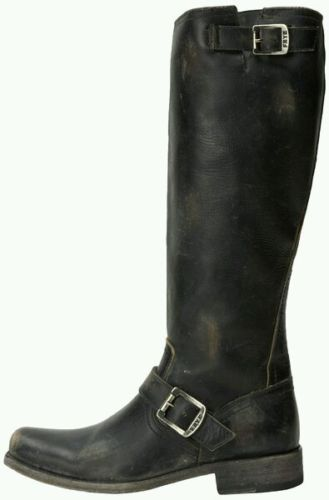 NIB Frye Smith Engineer Tall Black Distressed Leather Women's Sz 5.5