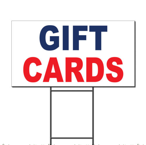 Gift Cards Blue Red Corrugated Plastic Yard Sign /Free Stakes