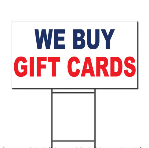We Buy Gift Cards Blue Red Corrugated Plastic Yard Sign /Free Stakes