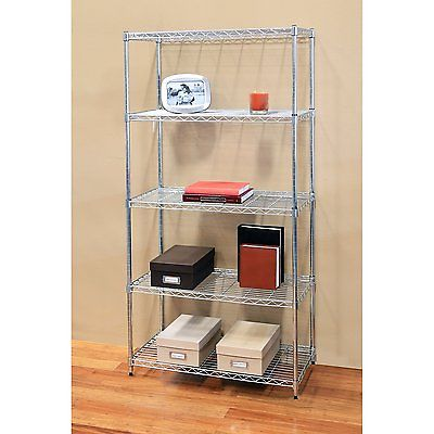 Industrial Heavy Duty 5-Shelf Wire Shelving Rack w/Wheels-Wire/Metal Shelf Unit