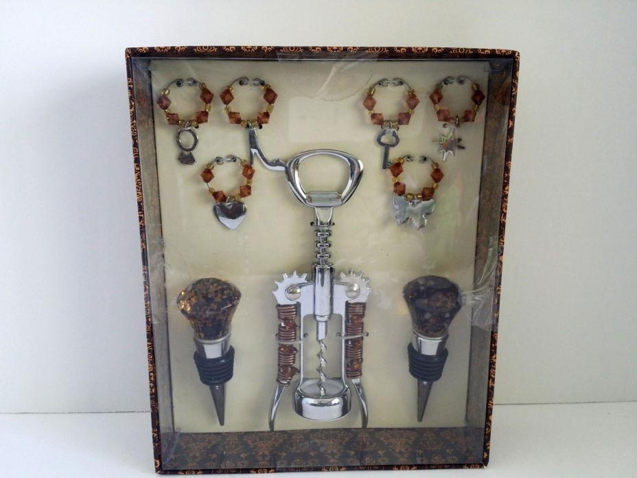 Wild Eye Designs 9 Piece Wine Set Tan Cut Glass Beads Corkscrew Stoppers Charms
