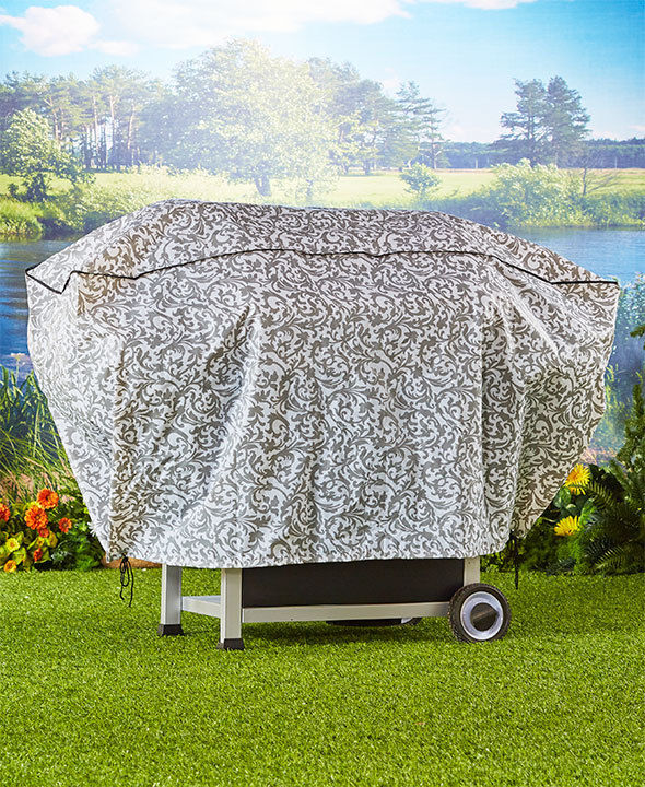 Damask Print Grill Cover Waterproof