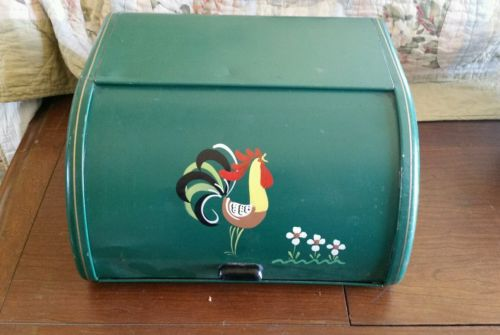 Ransburg Hand Painted Bread Box Green with Rooster Chicken