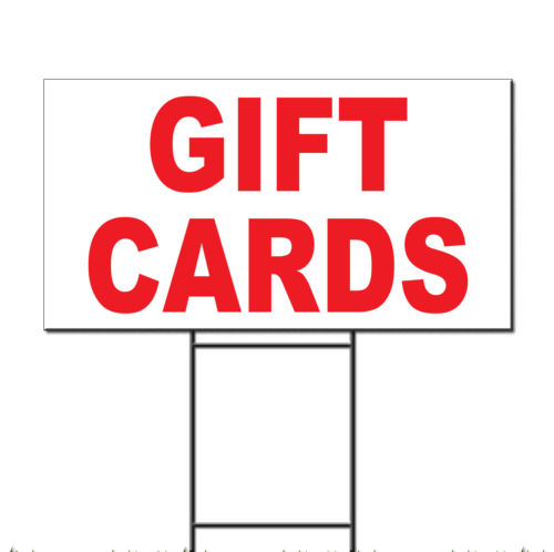Gift Cards Red Corrugated Plastic Yard Sign /Free Stakes