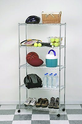 Heavy Duty Commercial 5-Shelf Wire Shelving Rack w/Wheels-Wire/Metal Shelf Unit