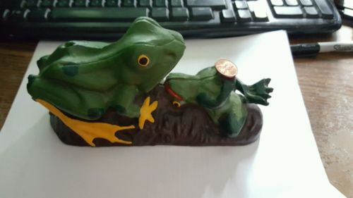 Vintage two Frog Bank Mechanical Cast Iron