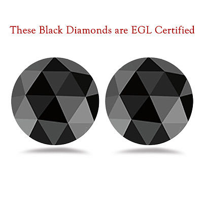 AAA Round Rose Cut Fancy Black ( 2 pcs ) Loose Diamonds