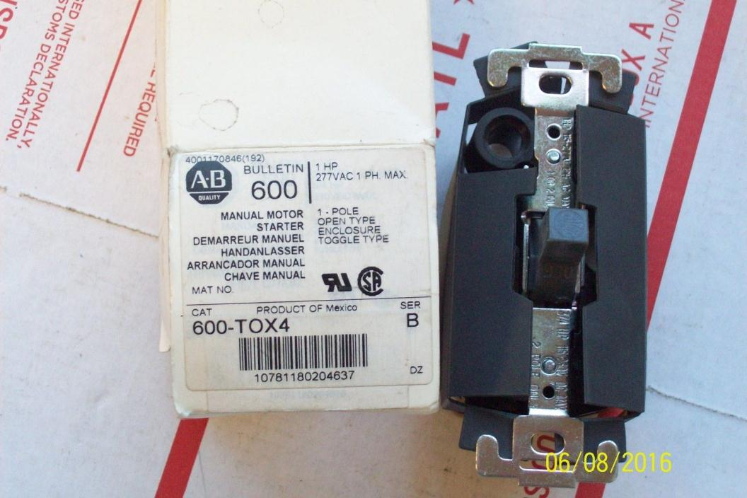 *NEW* ALLEN BRADLEY MANUAL MOTOR STARTER TOGGLE TYPE 1 HP 277VAC 1 PH 600-TOX4