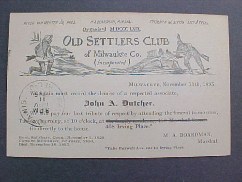 Wisconsin: Milwaukee 1895 Old Settlers Club Death Notice Postal Card
