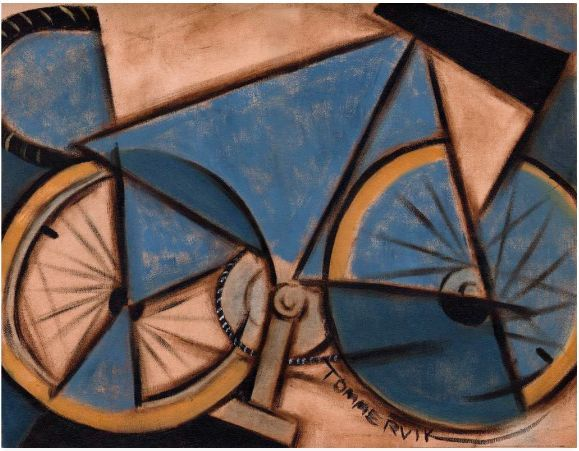 TOMMERVIK BLUE ABSTRACT TEN SPEED BICYCLE BIKE CYCLING CUBISM ART PRINT