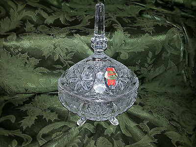 Large heavy crystal oval etched candy dish with lid by aAnna Hutt   #  1589