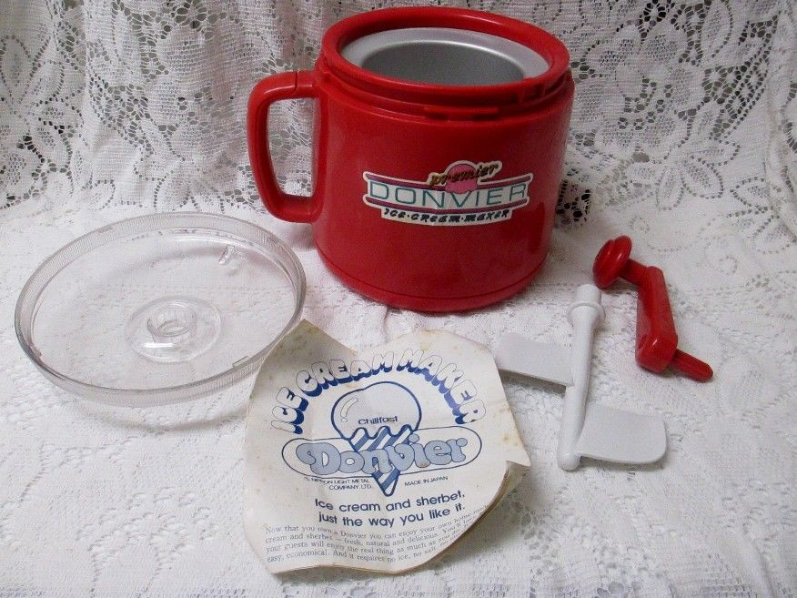 PREMIER VINTAGE RED DONVIER ICE CREAM MAKER - NEVER USED