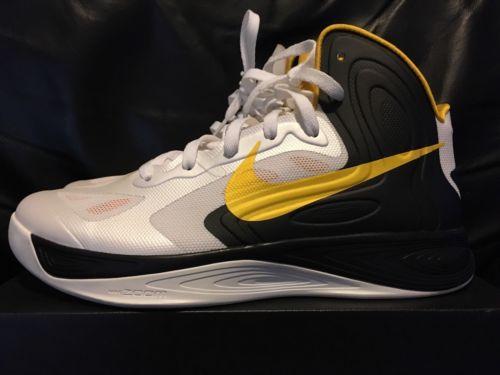 Nike Men's Zoom Hyperfuse 2011 TB Basketball Shoe White/Black/Yellow Size 9 NEW
