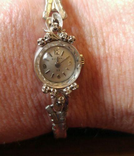 Vintage Bulova womens watch 14k white gold diamonds working