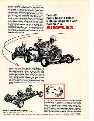 1961 SIMPLEX RACING GO- KART  ~  CLASSIC ORIGINAL PRINT AD