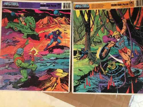 Golden MASTERS OF THE UNIVERSE He Man & Skeletor 1984 Frame -Tray puzzle