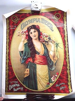 4 VINTAGE OLYMPIA BEER POSTERS RARE