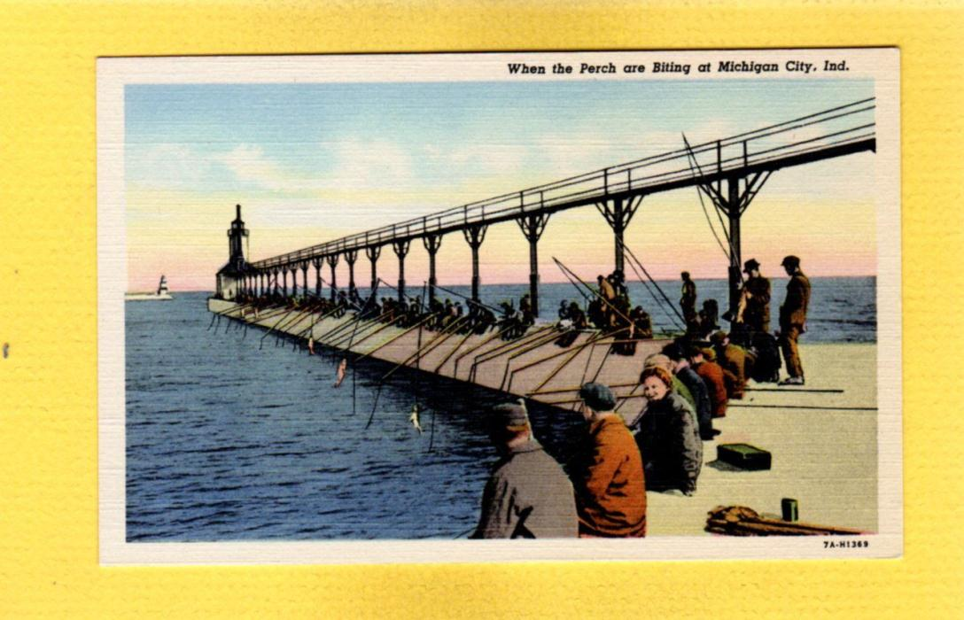 Michigan City,Indiana,IN Perch Fishing from Pier circa 1937