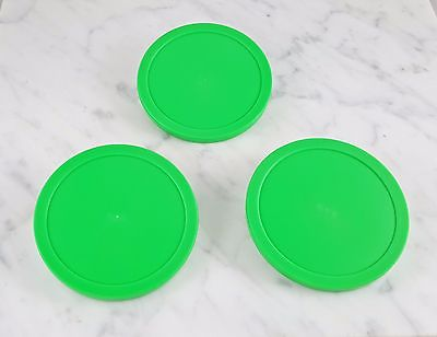 Lot of 3 Bright Green Round Air Hockey Pucks Commercial Size 3 1/4