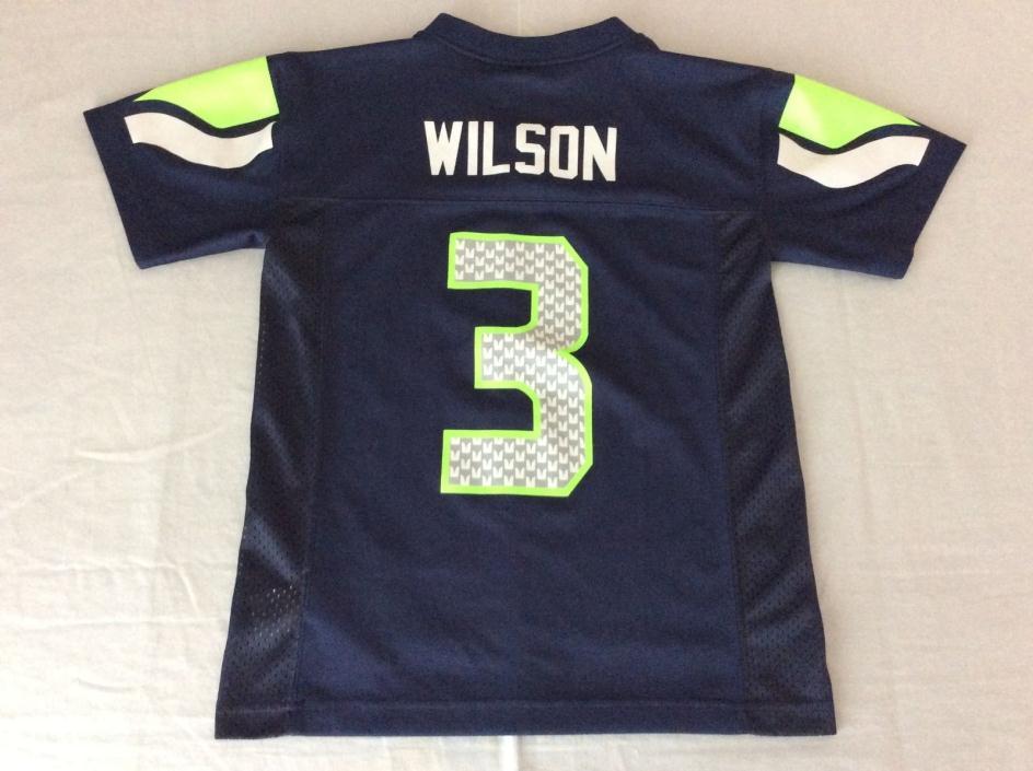 SEATTLE SEAHAWKS RUSSELL WILSON BLUE NFL JERSEY YOUTH BOYS KIDS SMALL(8)