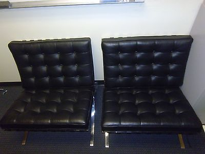 Lot of 2 Knoll Barcelona Stainless Steel Black Chairs