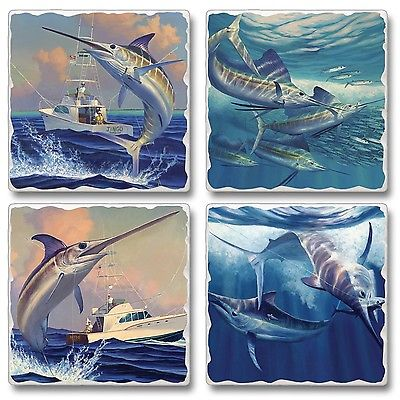 Deep Sea Fishing Trophy Catch Sailfish Tumbled Stone Coasters Set of 4