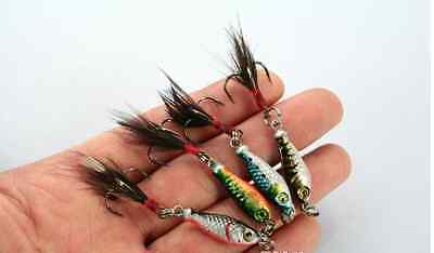 4 Multi colored lead weighted Buck Tail Trout Bass Walleye fishing lure
