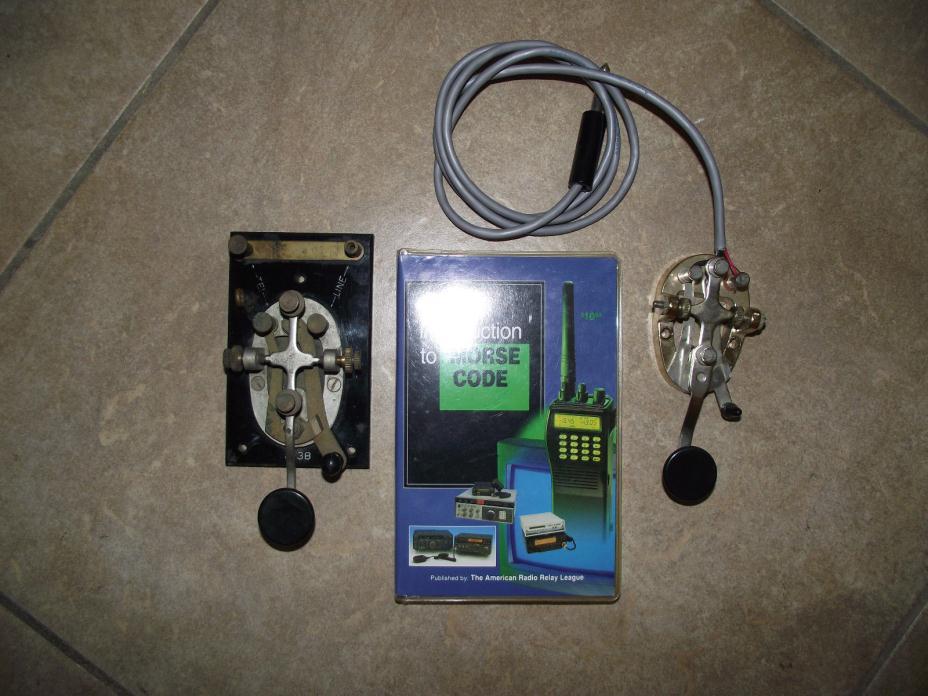 Morse Code Key lot j-38 & Morse code cassette course