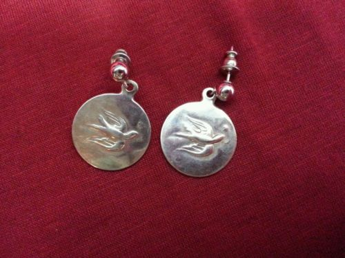 Sterling silver christmas ornament earing s towle