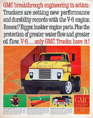 1964 GMC Truck Vintage Car Ad Large Size Mid Century Yellow Tractor Trailer