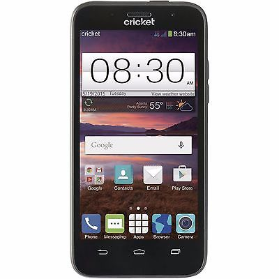 Cricket Wireless - ZTE Fanfare 4G LTE with 4GB Memory Prepaid Cell Phone - Black